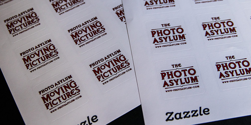 The stickers (also ordered from Zazzle) used new Photo Asylum and Photo Asylum Moving Pictures designs I recently created for promotional t-shirts. ©Steven Paul Hlavac. All Rights Reserved.