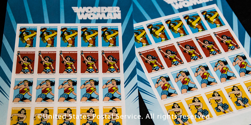 How can one go wrong with Wonder Woman forever stamps? Postage design ©USPS and DC Comics.