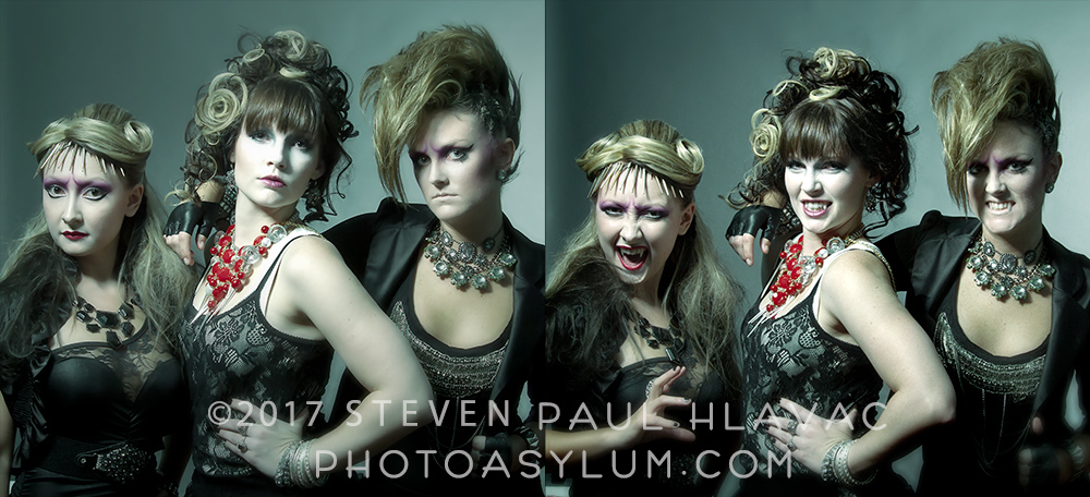 Experience not required. From the concept fashion test The Vampire Brides. Models (L to R): Elina Youngblut, Samantha Auckland, Anna Lisa Lanier. Makeup: Mike Burt. Hair: Glory Joy, ©Steven Paul Hlavac. All rights reserved.