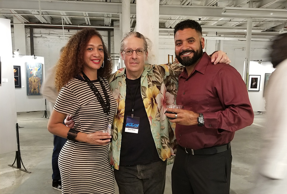 At Nude Night Miami Saturday night with Orlando artist Mary Bell (left) and Pedro Geliga (right). Mary's work was in the show as well...