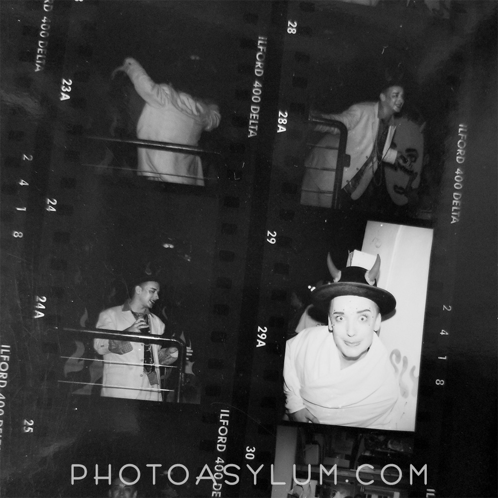 You can clearly see from this black and white proof sheet the time gap between Boy George's performance in the club, and when I caught up to him outside.  ©Steven Paul Hlavac. All rights reserved.