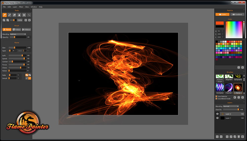 Flame Painter screenshot. © 2009-2017 Escape Motions, s.r.o. All Rights Reserved.