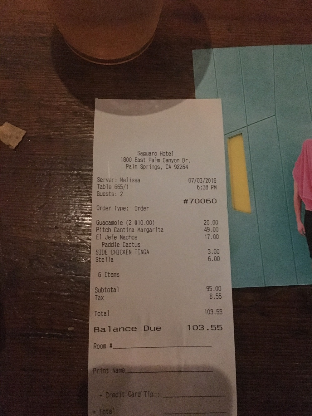 Our bill.  Melissa was a dope server though...