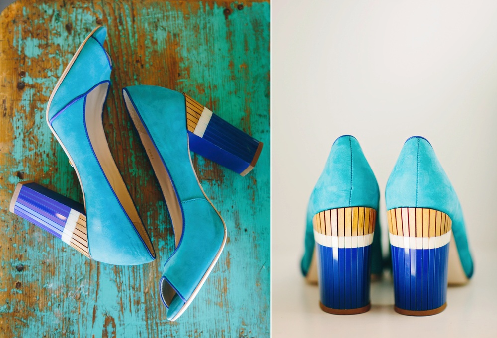 Teal and blue wedding shoes / Cat Mayer Studio
