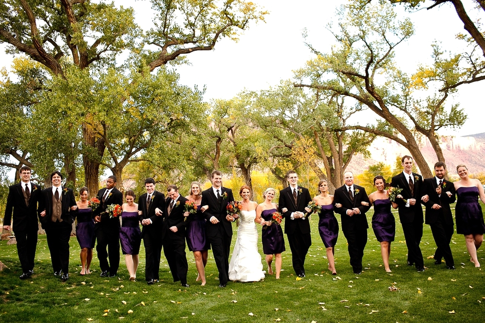 large wedding party at Gateway Canyons Resort