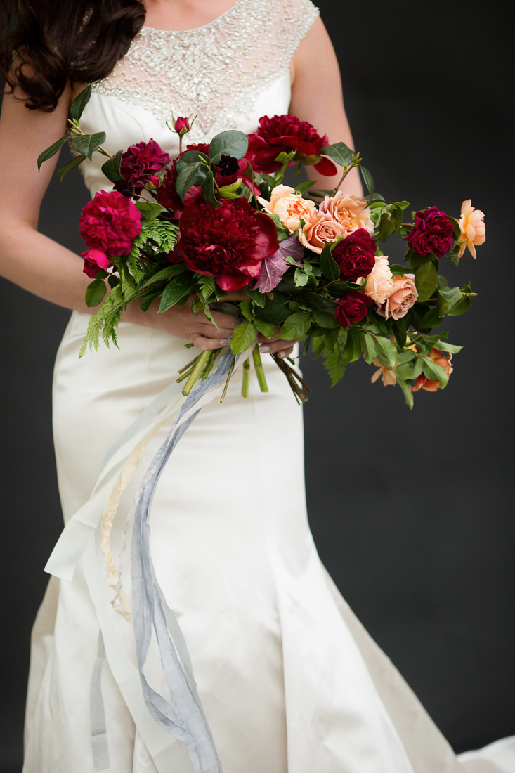 Marsala wedding bouquet with Silk and Willow ribbon