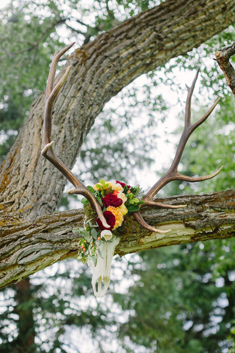 Aspen wedding photographer / Ceremony flowers horns with wedding flowers / www.catmayerstudio.com