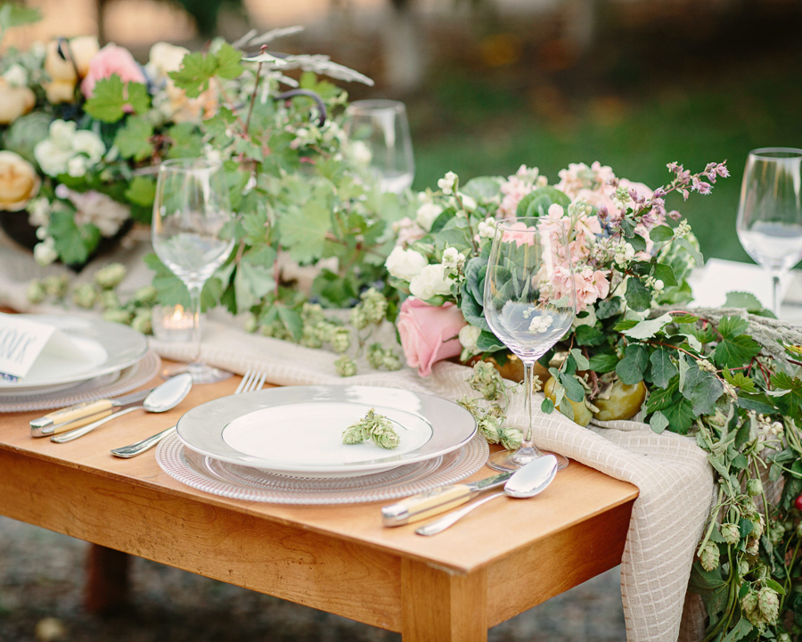 Palisade peach orchard wedding reception table