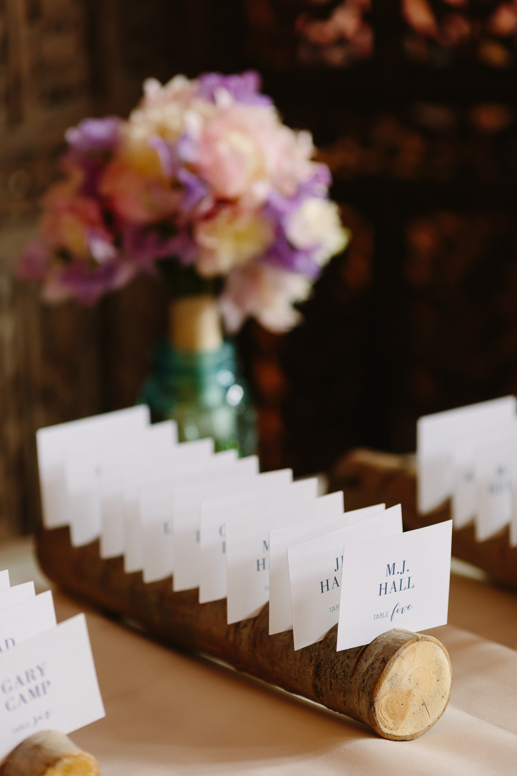 Wedding seating cards set in wood