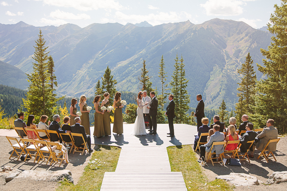 Wedding ceremony at Aspen Wedding Deck