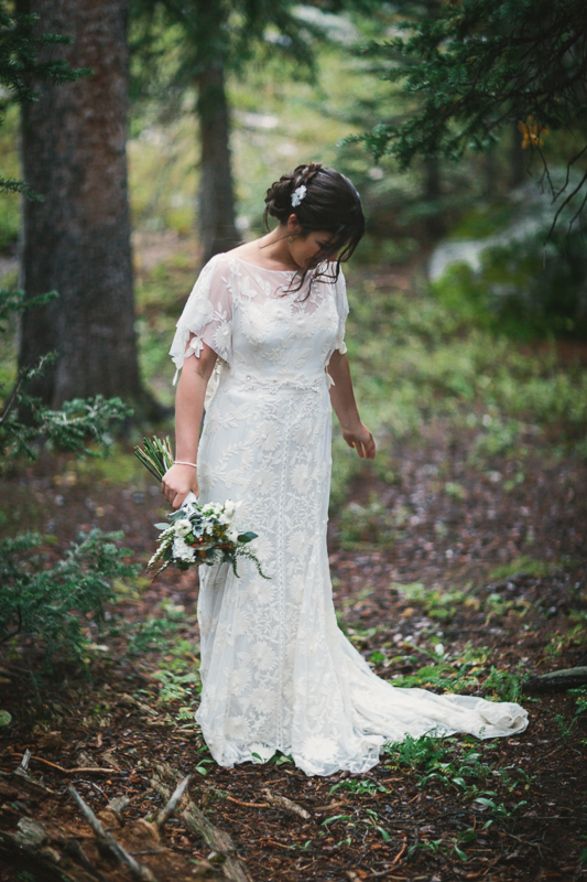 Bride in forest | Alta Lakes Telluride Wedding | Cat Mayer Studio