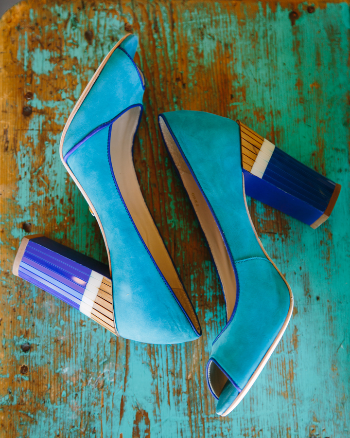 Turquoise wedding wedge shoes from Anthropologie | Aspen wedding | Photographer: Cat Mayer Studio www.catmayerstudio.com