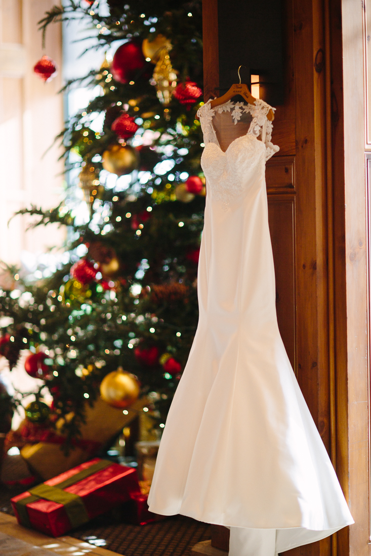 Cat Mayer Studio | www.catmayerstudio.com | Park Hyatt Beaver Creek Wedding | Wedding dress and Christmas tree