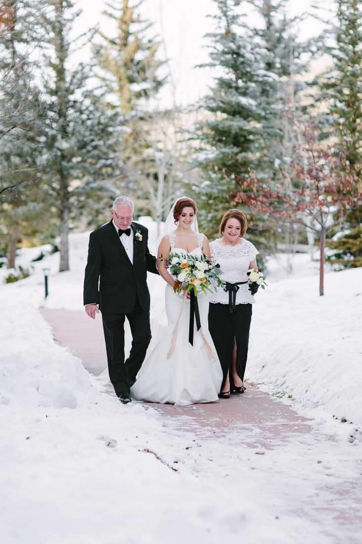 Cat Mayer Studio | www.catmayerstudio.com | Vail Wedding Photography | Park Hyatt Beaver Creek winter wedding | Bride walking down aisle