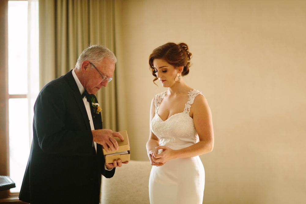 Cat Mayer Studio www.catmayerstudio.com | Park Hyatt Beaver Creek Wedding | Bride with her father before ceremony