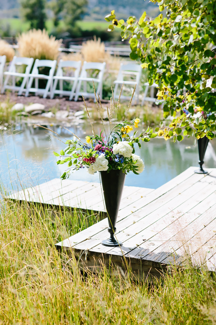 Late Summer Wildflowers On Wedding Dock | Cat Mayer Studio | www.catmayerstudio.com