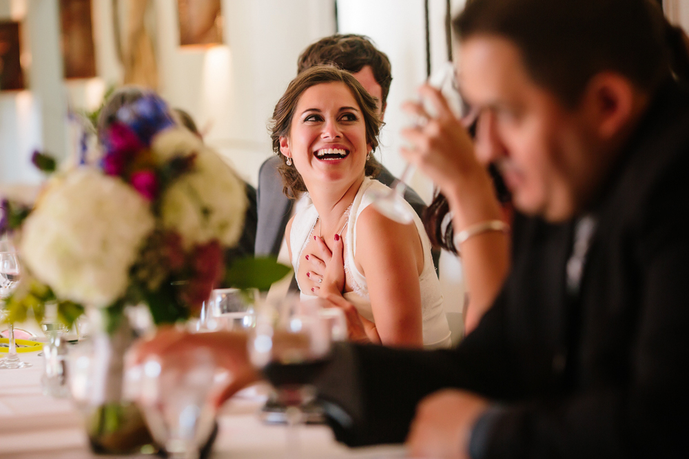 Aspen Wedding Photography | Bride Laughing at Best Man's Toast | Cat Mayer Studio | www.catmayerstudio.com