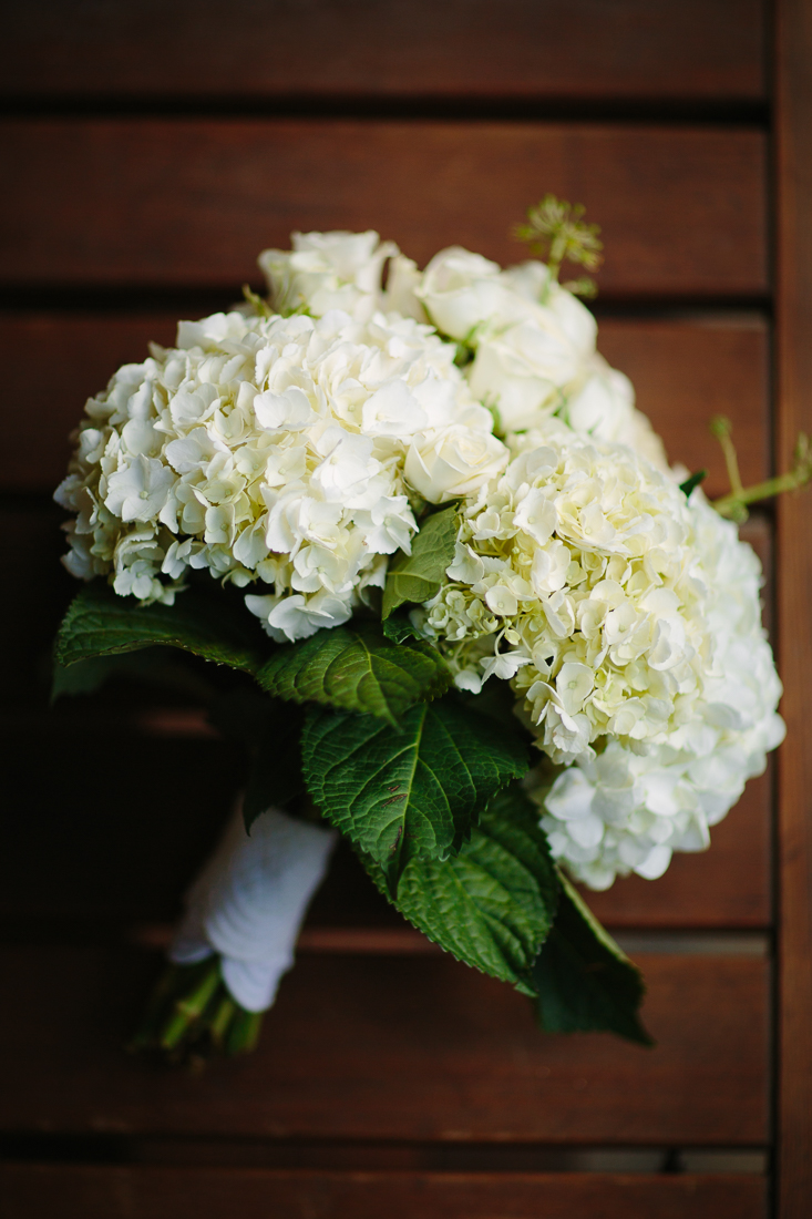 Telluride Wedding Photography | White Hydrangea Bouquet with Green Leaves | Cat Mayer Studio | www.catmayerstudio.com