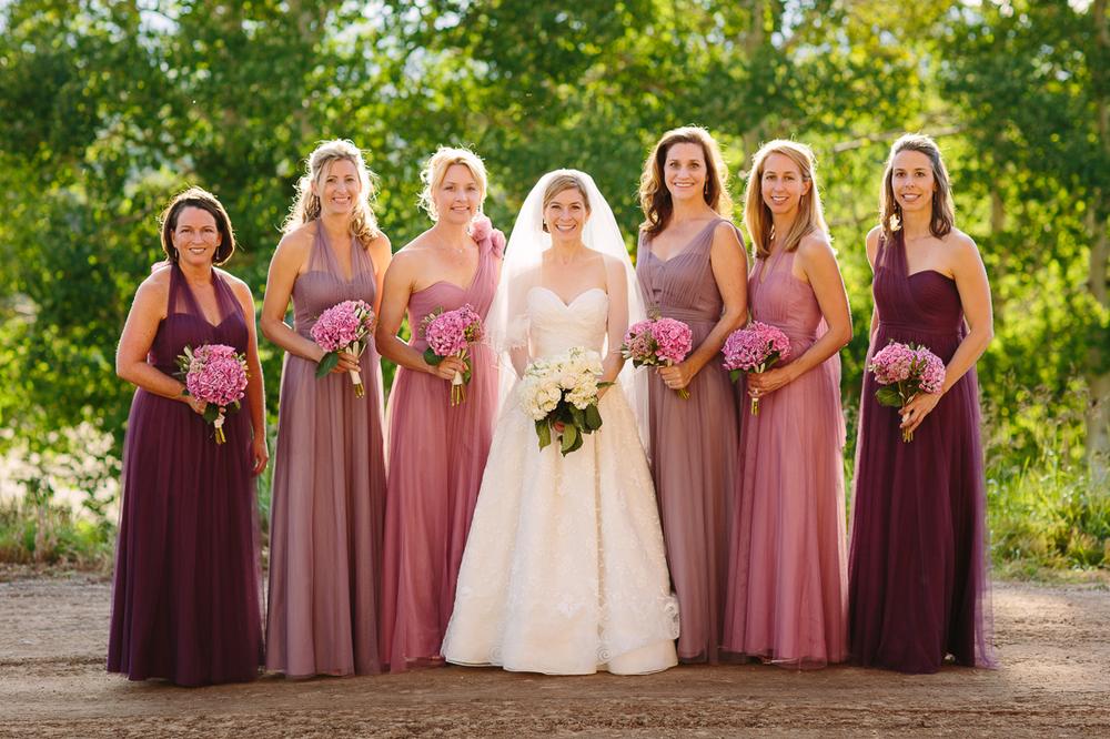 Bridesmaids with Different Shape and Color Dresses | Cat Mayer Studio | www.catmayerstudio.com