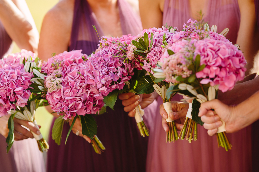 Rustic Pink Flowers and Bridesmaids with Different Shades of Pink Dresses | Cat Mayer Studio | www.catmayerstudio.com