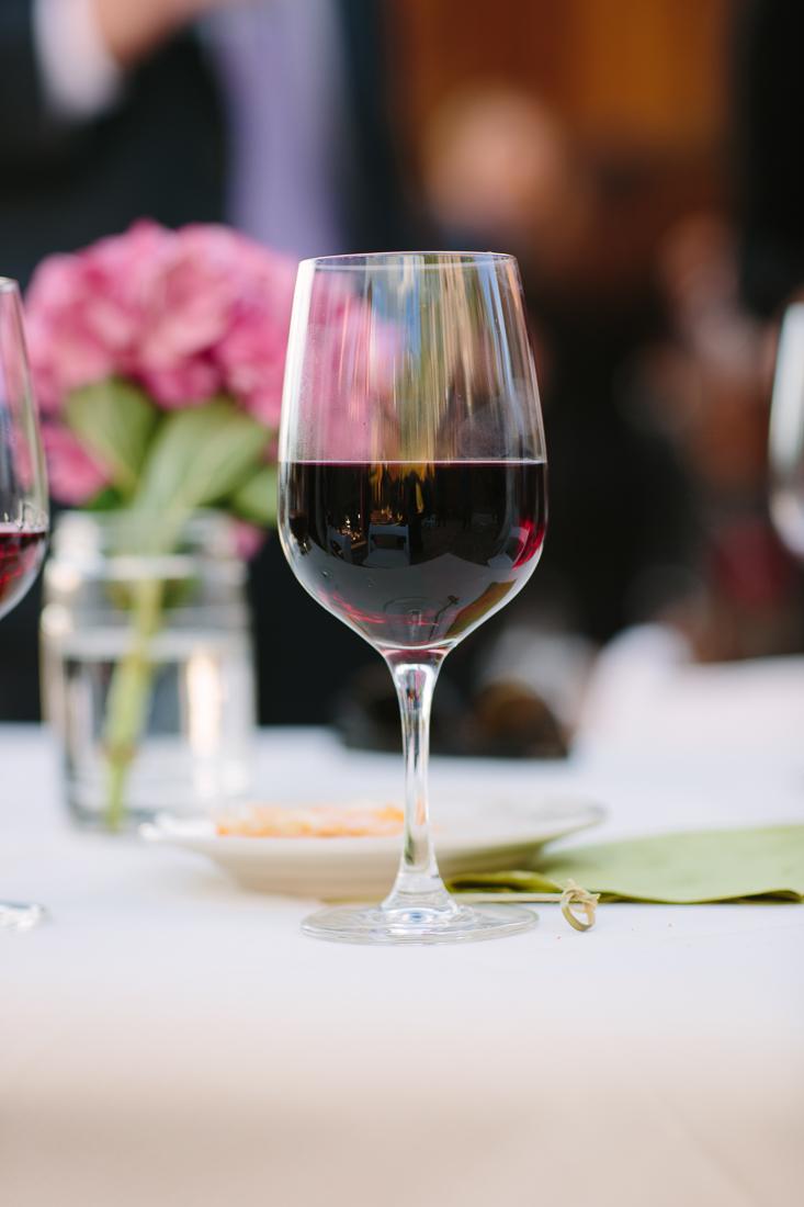 Glass of Red Wine at Wedding Reception | Cat Mayer Studio | www.catmayerstudio.com