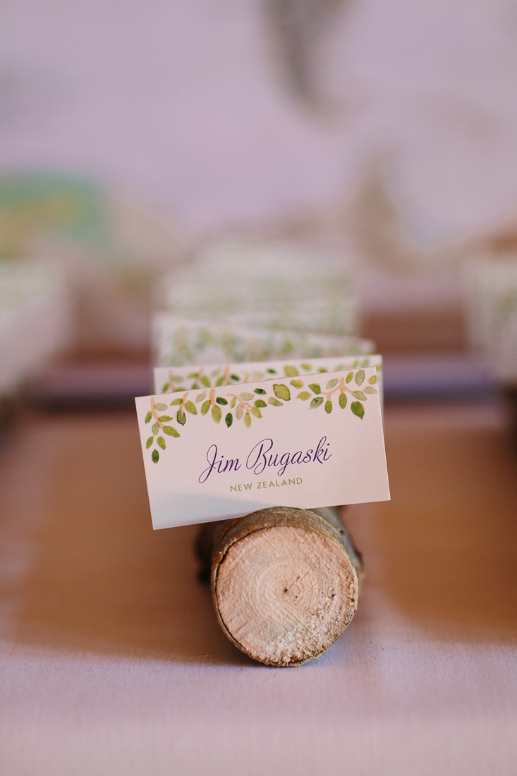 Green Leaves on Wedding Place Cards | Cat Mayer Studio | www.catmayerstudio.com