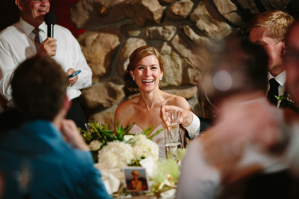 Bride Laughs During Father's Toast | Photography by Cat Mayer Studio | www.catmayerstudio.com
