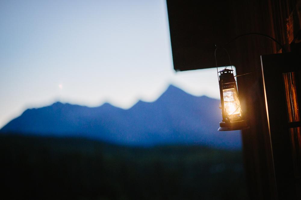 Rustic Mountain Range with Hanging Lamp | Cat Mayer Studio | www.catmayerstudio.com