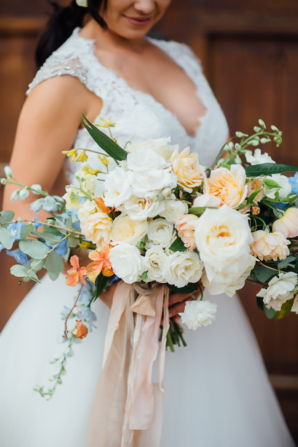 Blue, Yellow, Orange, Pink, and White Bouquet | Cat Mayer Studio | www.catmayerstudio.com