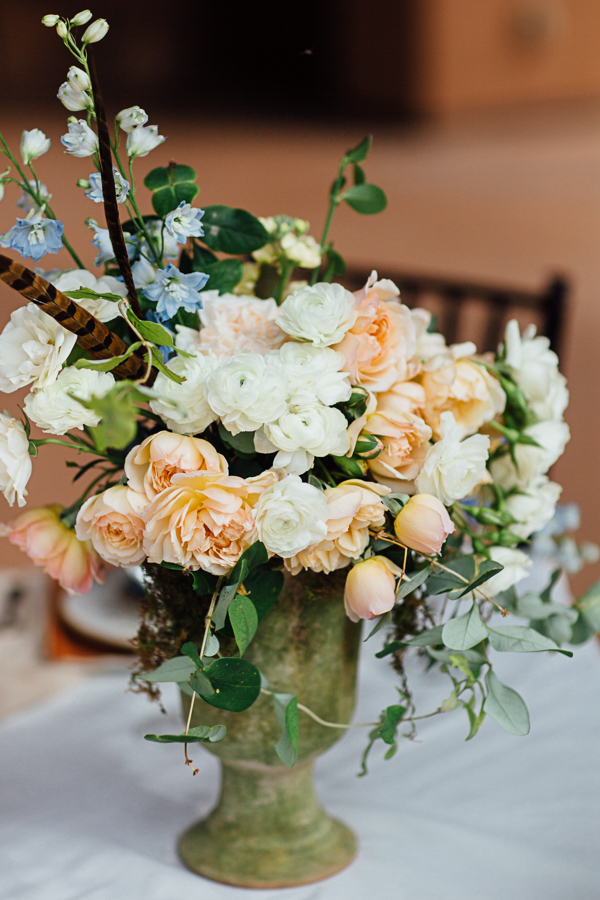 Rustic Flowers in Green Vase | Cat Mayer Studio | www.catmayerstudio.com