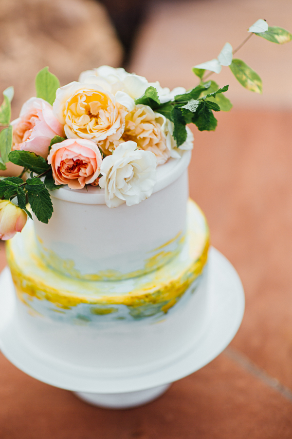 Pink, White, and Yellow Roses on Wedding Cake | Cat Mayer Studio | www.catmayerstudio.com