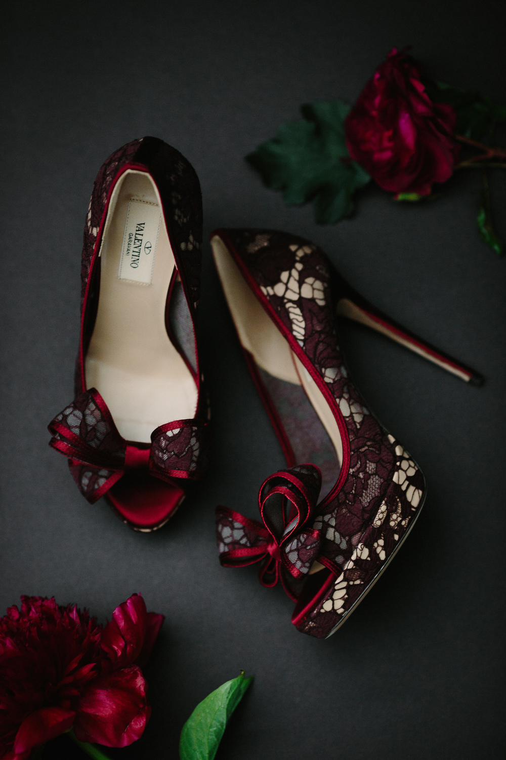 Red lace Valentino peep toe wedding shoes