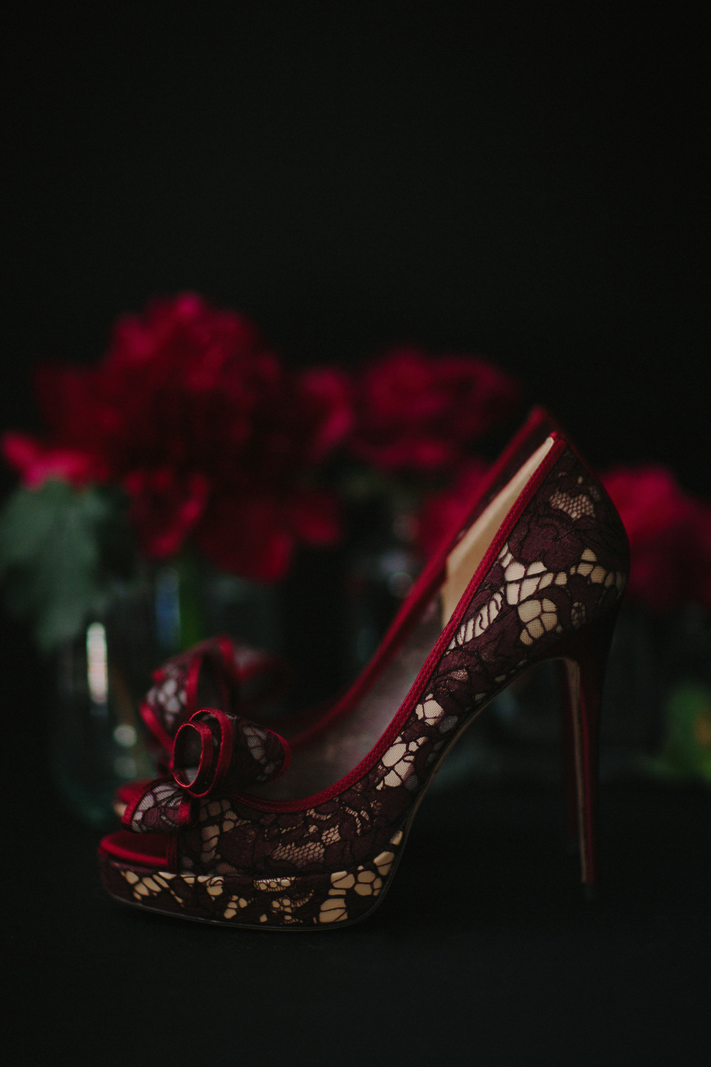 Valentino red lace peep-toe wedding shoes