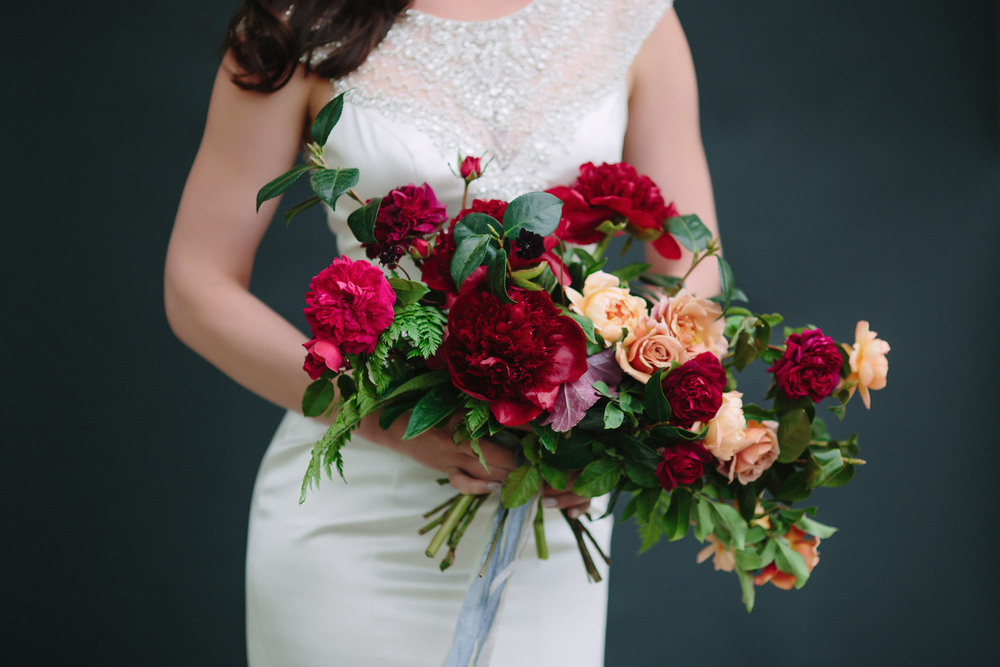 Dark and luxurious bride's bouquet by 3 Leaf Floral