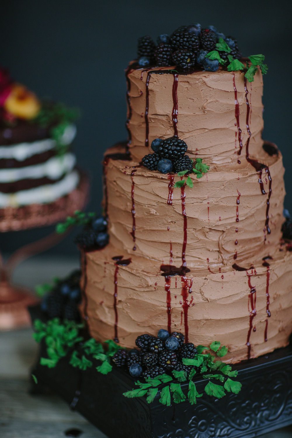 Chocolate wedding cake by Bespoke Cakery, Co. in Grand Junction, Colo.
