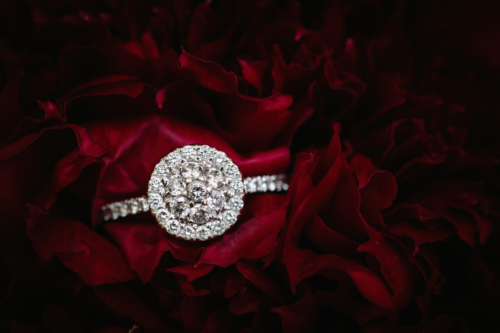 diamond wedding ring in a peony