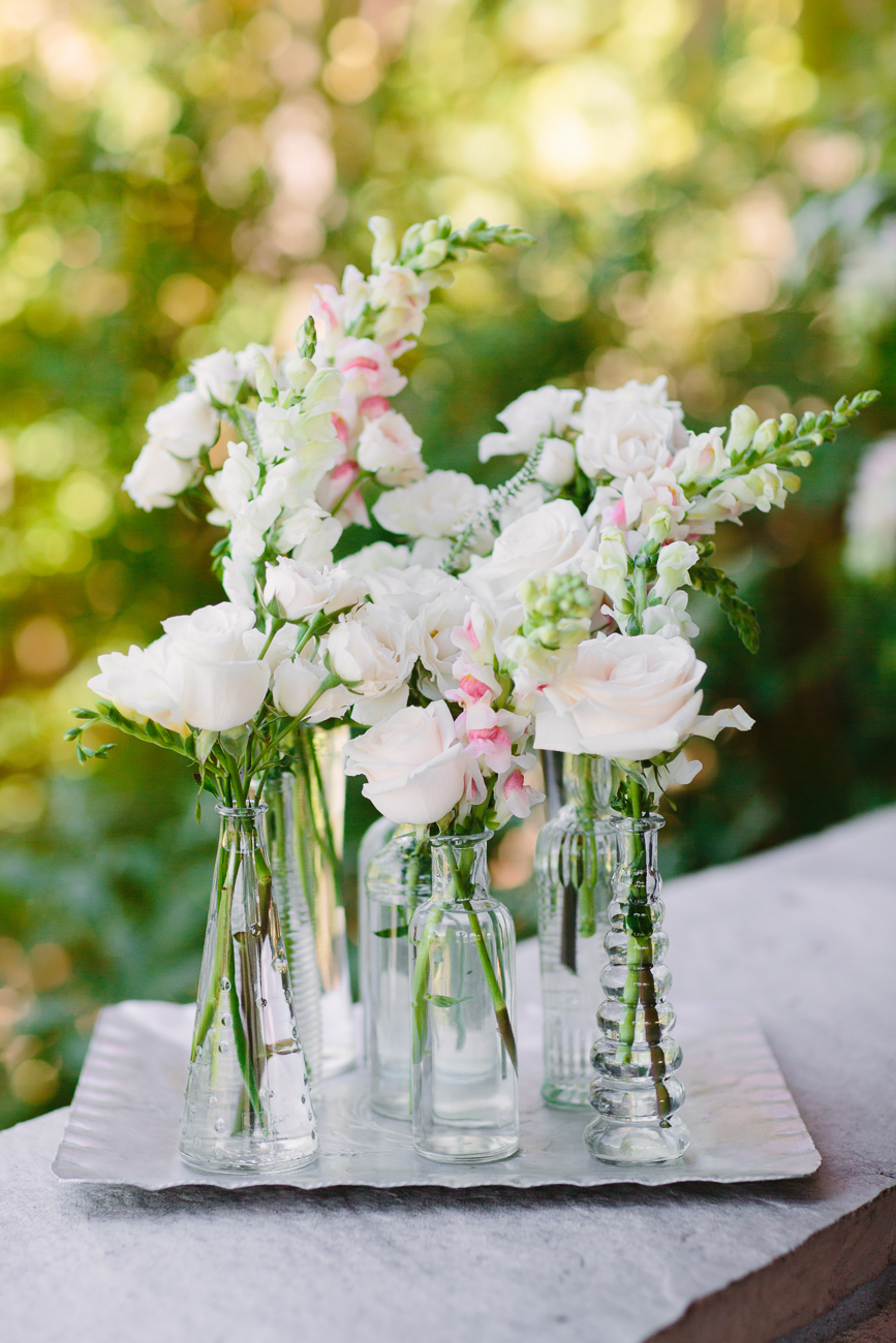Small Vases of White Roses by 3 Leaf Floral | Cay Mayer Photography | www.catmayerstudio.com
