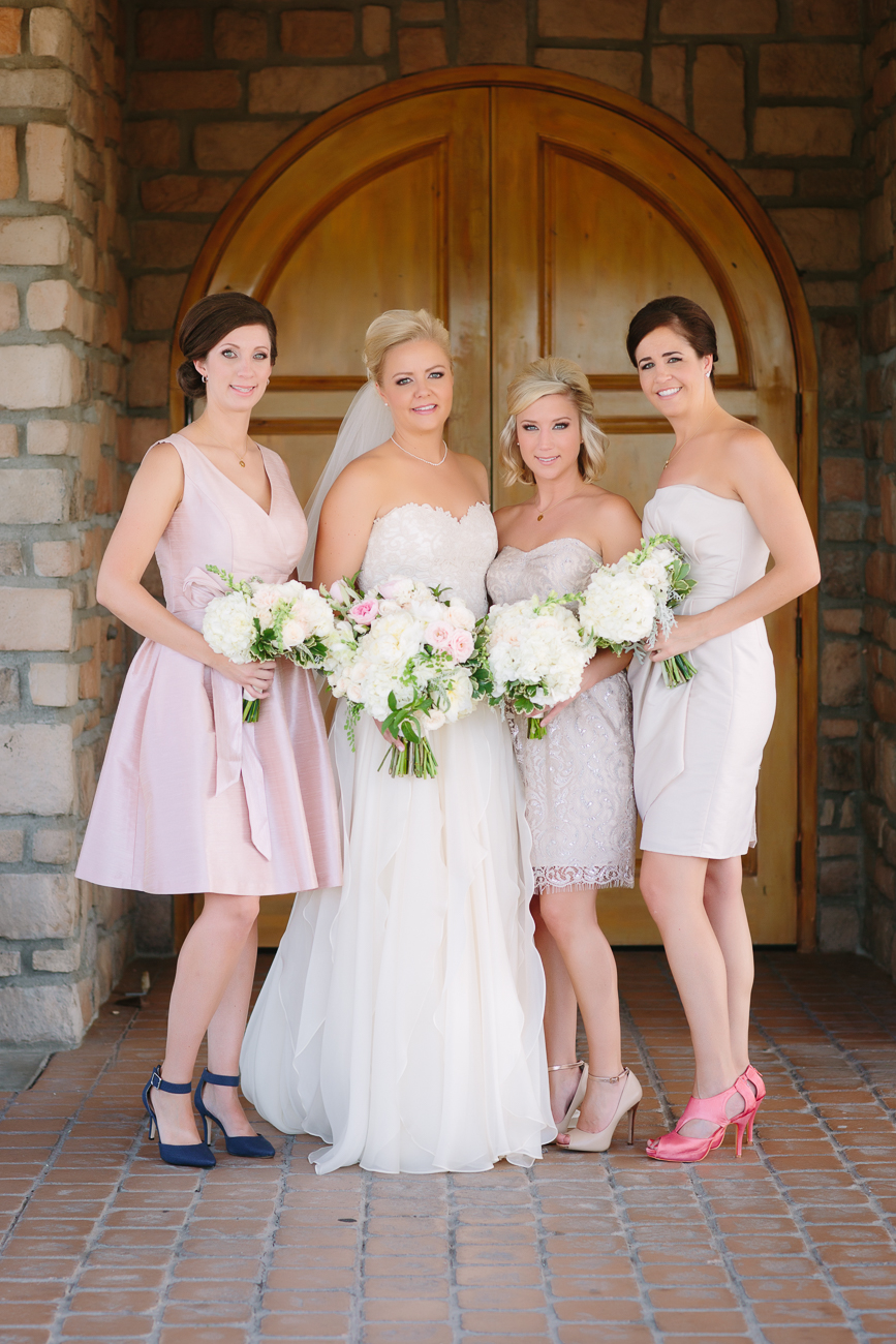 Bridesmaids Posing at Two Rivers Winery | Cay Mayer Studio | www.catmayerstudio.com