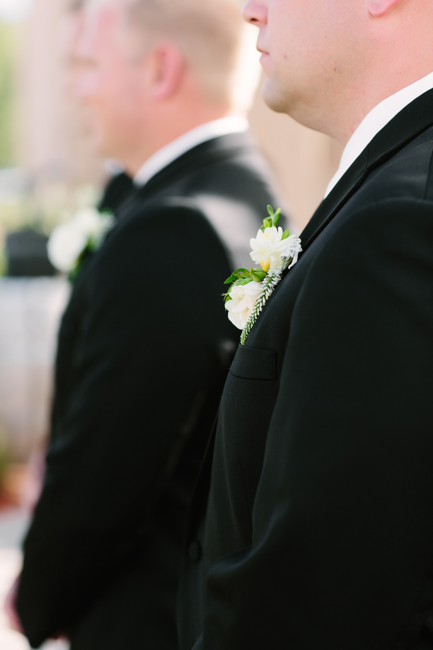 Groomsman White Rose Lapel with Black Tux | Cay Mayer Studio | www.catmayerstudio.com