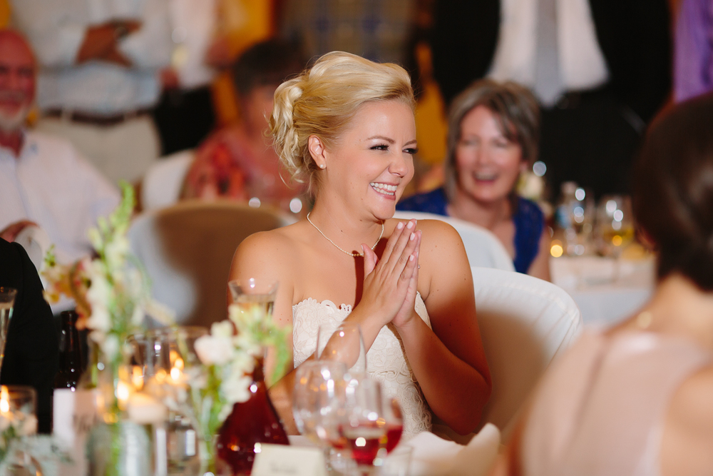 Bride Smiles During Toast | Cay Mayer Studio | www.catmayerstudio.com