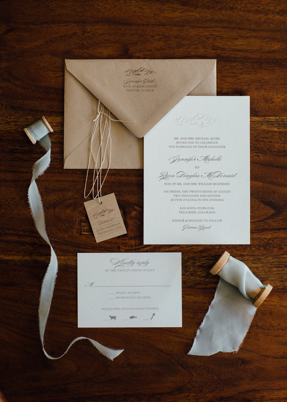 hand lettered custom calligraphy wedding stationery / Dunton Hot Springs Wedding | www.catmayerstudio.com