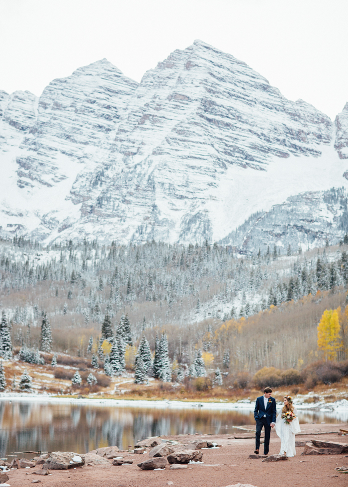 Cozy elopement wedding at Maroon Bells in Aspen, Colorado in early October