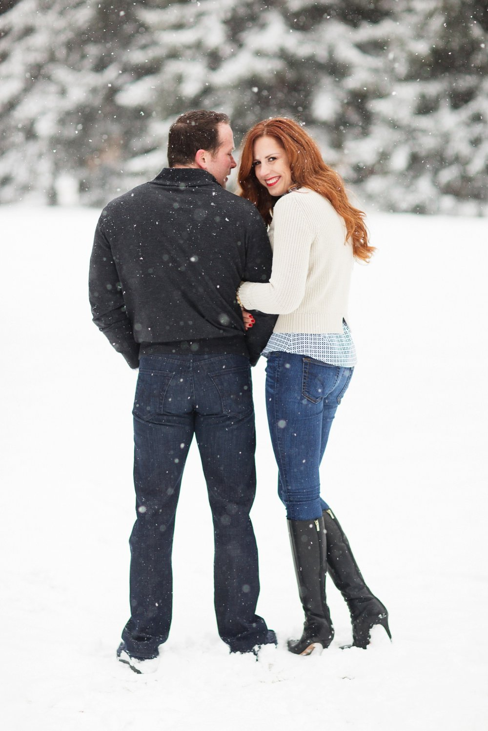 Snowy engagement session in Aspen