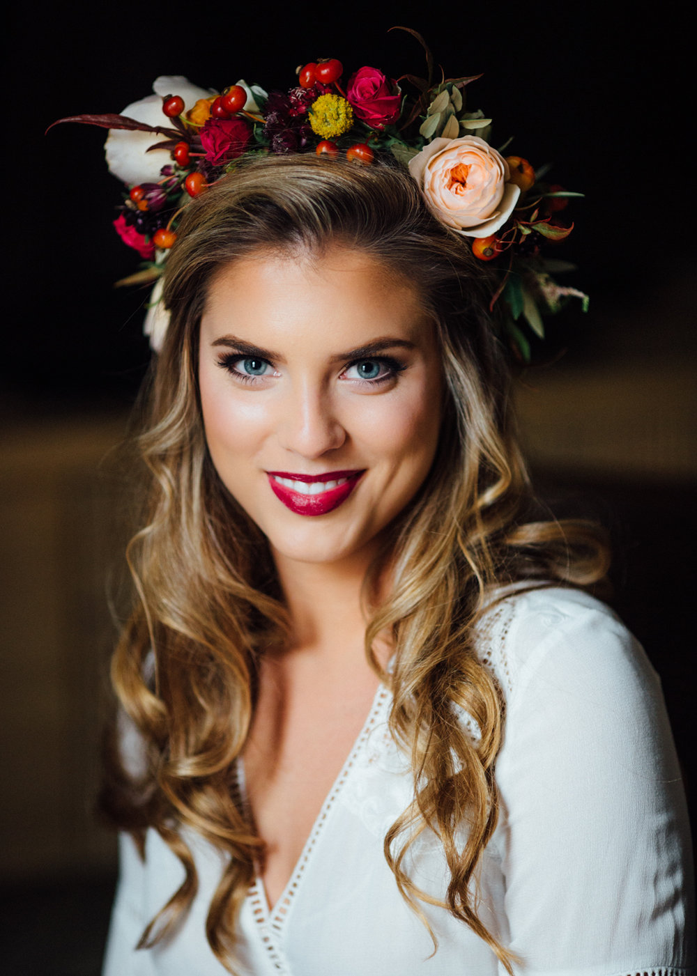Boho bride with Mountain Flowers of Aspen flower crown