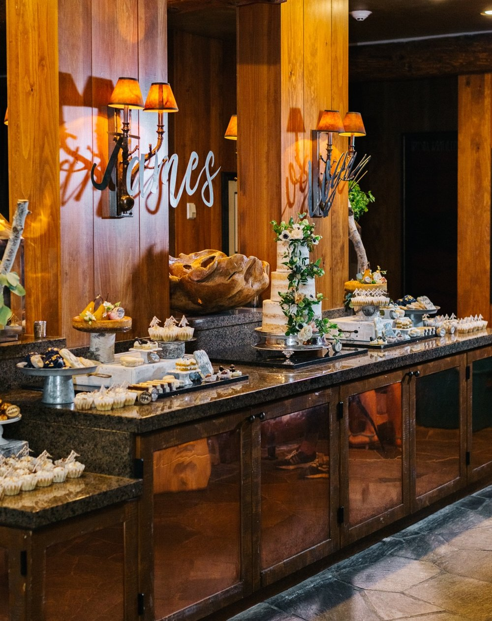 Dessert bar at Zach's Cabin wedding | Cat Mayer