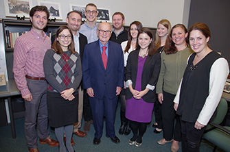 Harold Burson met with Burson-Marsteller staffers to discuss crisis communications strategies in October 2014.
