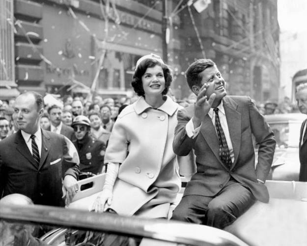 October 19, 1960: Democratic presidential nominee John F. Kennedy and his wide, Jacqueline, ride up Broadway in a ticker-tape parade.