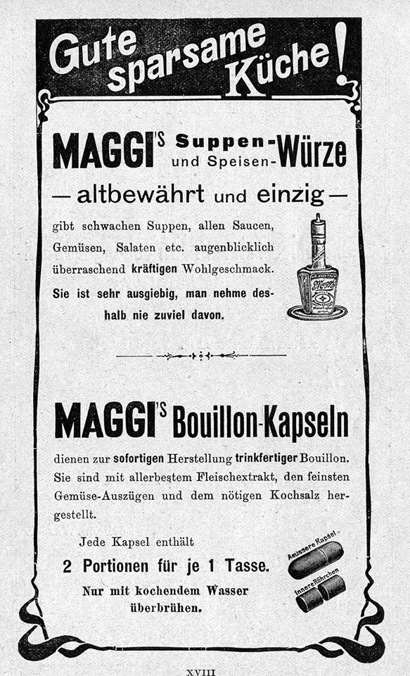 Maggi ad (in German), highlighting the distinctiveness, affordability and taste of the sauce.