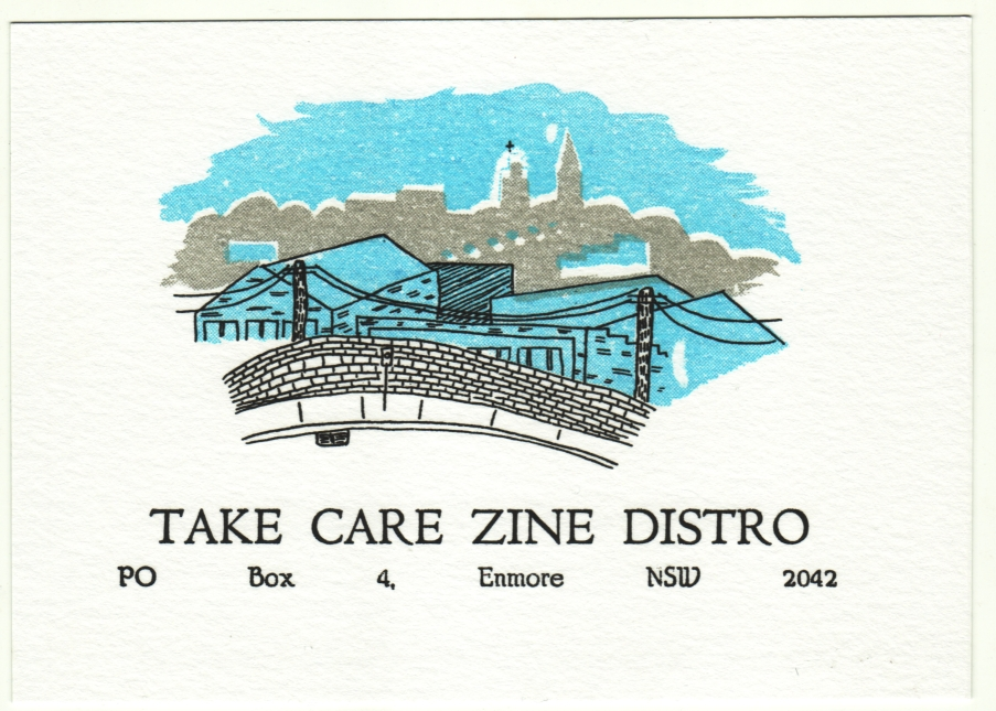 Take Care is a zine distro based in Sydney, stocking a variety of zines and related material by different zine makers and artists. Find out more here.