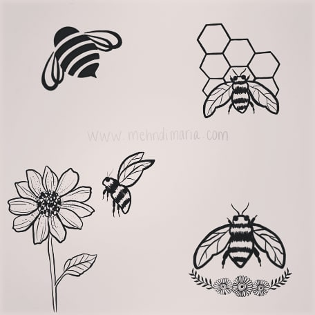 Free bee henna? Yup.  You know bee body art is our thing!  Have you marked your calendars for Sept 22 for our birthday party yet? Which of these gorgeous henna options will you get??